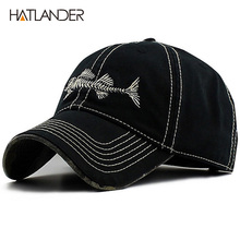 HATLANDER High quality washed cotton best cap underbill camo fishmen baseball cap adjustable good cap and for men and women(China)