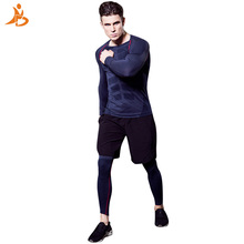 YD New Logo Custom Quick Dry 3 pcs Compression Fitness Tights Tracksuit Men Train Shirt Pant O-Neck Gym Sport Suit Running Set