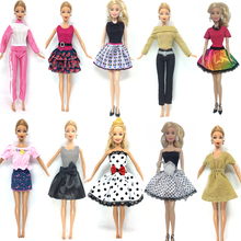 NK 10 Set/Lot Princess Doll Dress Noble Party Gown For Barbie Doll Fashion Design Outfit Best Gift For Girl' Doll hotsale(China)