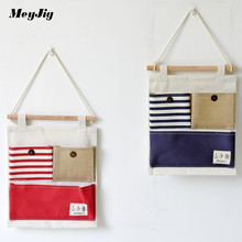 MeyJig Creative Wardrobe Bag Door Wall Linen Multi-layer Hanging Pouch Home Storage Organization Stationery Makeup Container(China)
