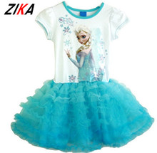 ZIKA 9M-4Y Summer Girls Dresses 2017 Elsa Anna Children's Princess Party Dress Baby Girls Clothes Designer Kids Dress For Girls(China)