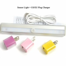 1PC IR Sensor Lamp Corridor/Bathroom/Basement/Warehouse L0408 USB Charging Infrared Induction 10pcs LED Light Include Battery