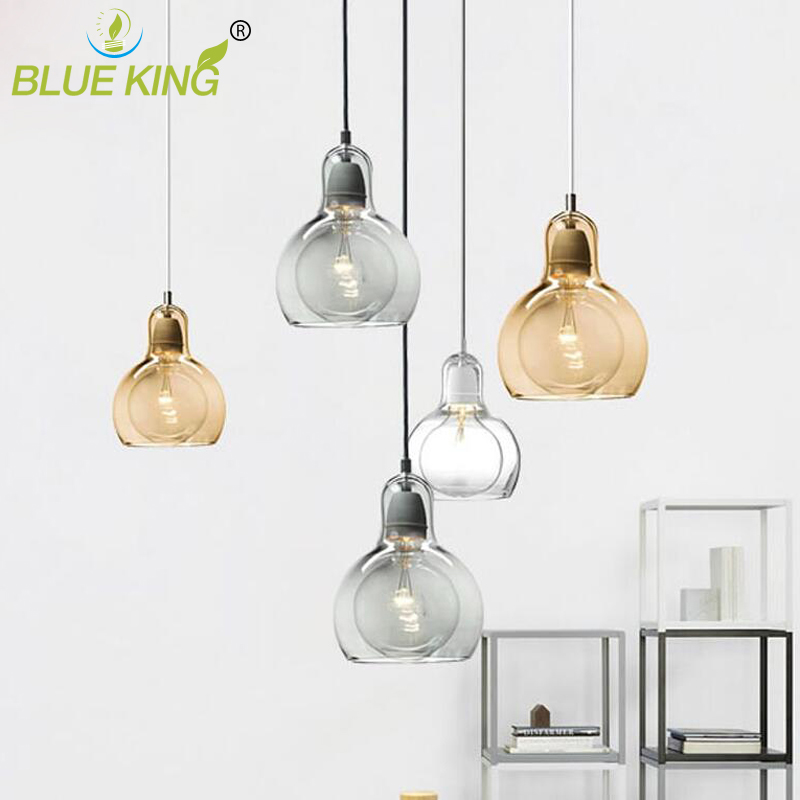 Modern global glass Pendant Lights for dinning room Cafe Home Lighting Fixtures Bar Hanging Lamp E27 single lamp<br>