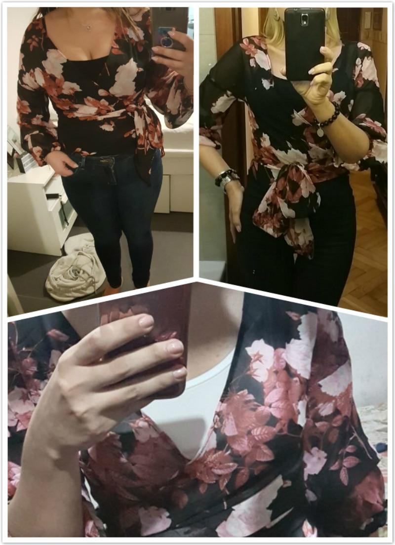 Floral Print Wrap Chiffon Blouse Lantern Sleeves Shirt (Us 2-14)