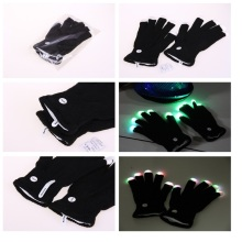 50pairs LED Flash Gloves 7 mode light up Ghost Dance Black Bar Stage Performance colorful Rave Light Finger Lighting Gloves