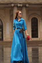 New arrival summer style brand bohemian blue long dresses vestidos plus size women queen clothing Travel holiday casual dress