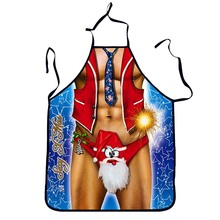 1Pcs Sexy Christmas Printed  Adult Apron Bibs Home Cooking Baking Party Funny Cleaning Aprons Kitchen Accessories Gift 46069