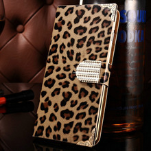 Fashion Leopard Diamond Shining PU Leather Case For iPhone 6 Plus 5.5 Inch Luxury Flip Style Mobile Phone Back Cover Case