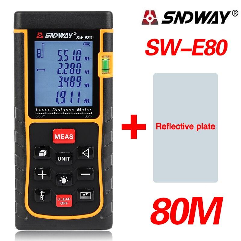 SNDWAY 80M Digital laser rangefinder 262ft handheld distance meter trena Laser range finder Area-volume-Angle tape measure tool<br>