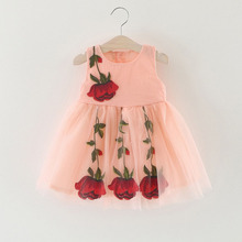2017 Newest Summer Cute Lace Baby Girls Dress Korean Style Trendy And Retro 3D rose Princess Clothes Kids Children's Costume