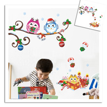 ZY1012 original copyright / children's room owl bending Christmas Gift Wall Stickers /EBAY(China)