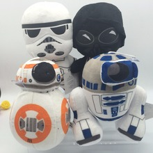 4pcs/set 20cm Star Wars The Force Awakens R2D2 BB8 BB-8 R2-D2 Droid Plush Doll Christmas Gifts
