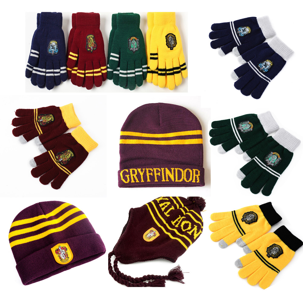 Harri Potter Touch Gloves Hat Earmuffs Cap Gryffindor/Slytherin/Hufflepuff/Ravenclaw Gloves Halloween Gift 20 Kinds Harry's hat(China)