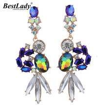Best lady Bohemian Multicolored Luxury Crystal Dangle Earrings For Women Brand Good Quality Beads Cheap Drop Long Earrings 4305(China)