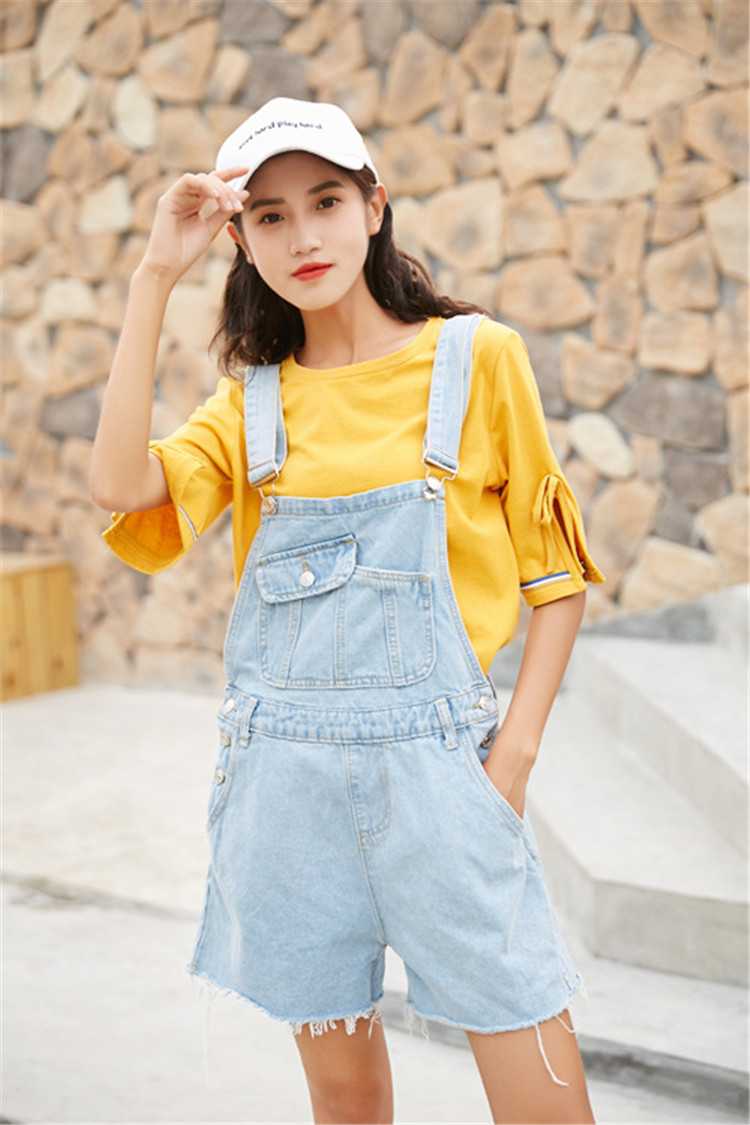 Summer new college style sweet diagonal personalized pockets skirts pants denim shorts female (1)