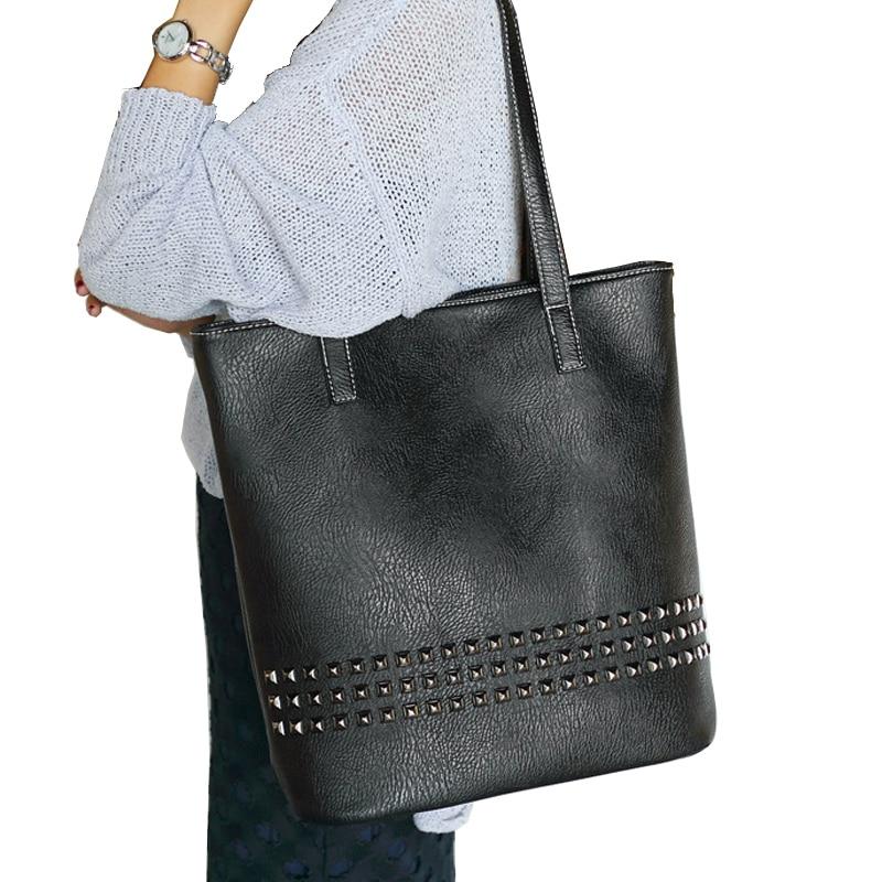 Large Capacity  Casual Tote Shoulder Bags PU Leather Crossbody Bag Women Punk Rivet  Handbags<br><br>Aliexpress