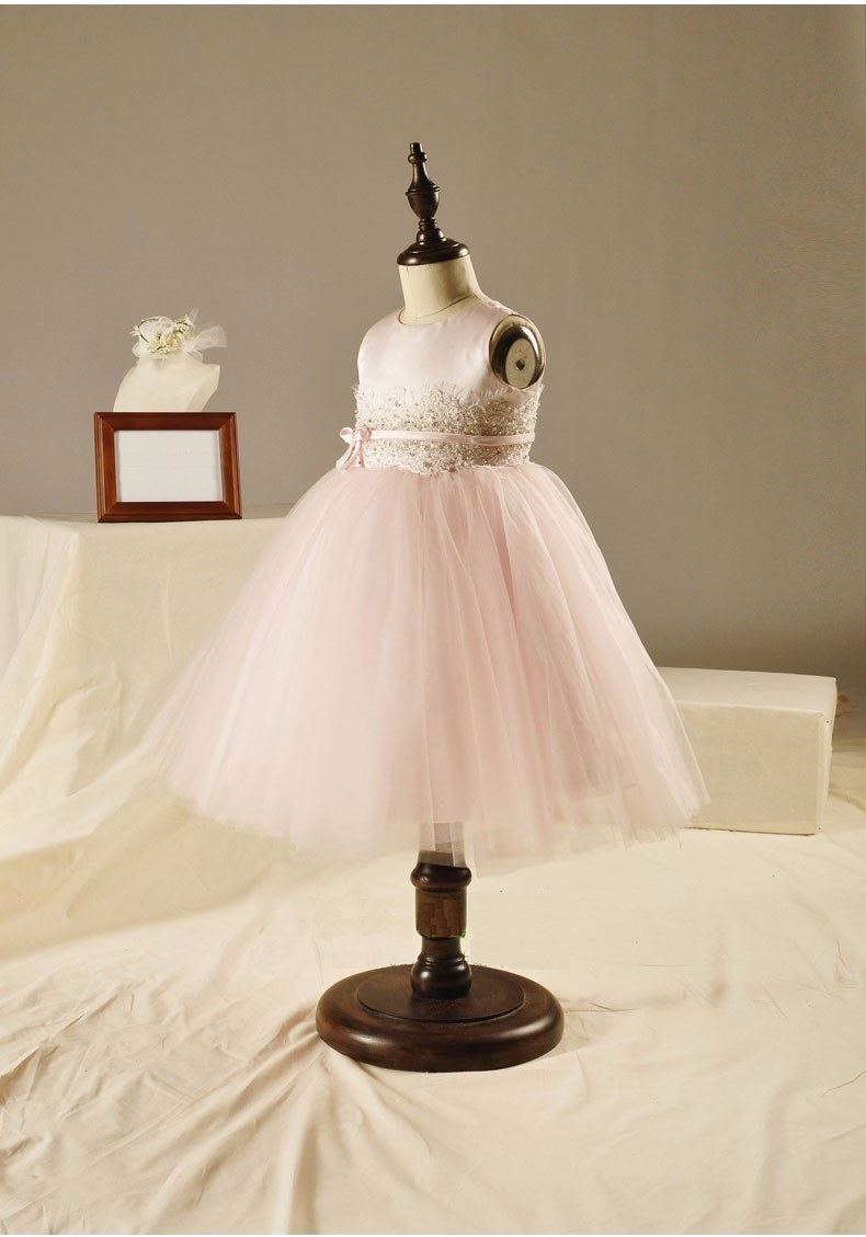 Elegant Girl Wedding Dress 2015 Fashion Great Quality Pink Ball Gown Beaded Tulle Party Princess Dresses,12M-12Y<br>