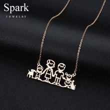 SPARK Lovely Family Series Necklaces for Dad Mama Boy Girl Pet Cat Dog Pendant Channel Necklace Stainless Steel Fashion Jewelry(China)