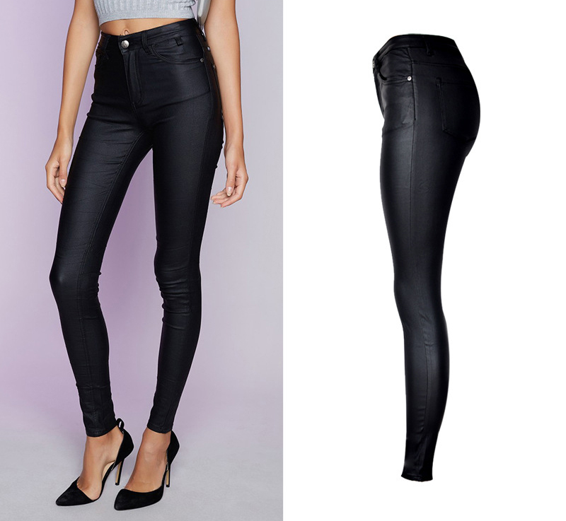 2017 New Hot Eu Models Women Sexy Slim PU Pockets Leather Pencil Pants Motor Style All-Match Fleece Trousers Slim Faux Leather (2)