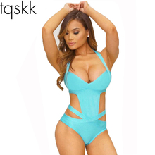 Buy TQSKK 2019 NEWEST Sexy One Piece Swimsuit Women Plus Size Swimwear Bandage Monokini Swimsuit Bathing Suit Swim Wear Black White