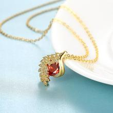 Romantic Gold Plating With Red Zircon Pendant Necklace Chain Fashion Fine Jewelry Wholesale Gifts Collection For Women N130-A