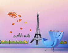 Eiffel Tower Red Autumnal Leaves Wall Stickers Livingroom Bedroom Office Creative Waterproof removable Decorative Wallpaper-lch