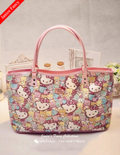 Clearance Sale Hello Kitty Designer Cartoon PU Printed Bolso Mujer Feminina Sac Handbag Women Totes Mummy Shoulder Bag48*28*14cm(China)