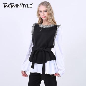 [Twotwinstyle] 2017 primavera patchwork falso de dos piezas con cinturón de encaje up waisted jerseys camiseta de las nuevas mujeres top fashion clothing