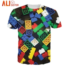Summer Style Lego Bricks T-Shirt Super Popular Children's Toy 3d Print T Shirt Camisetas For Unisex Women Men Large Size S-XXL(China)