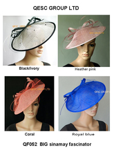 NEW BIG saucer Sinamay Fascinator kentucky derby hat.coral,black/ivory,royal blue,coral ,heather pink.FREE SHIPPING