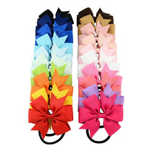 "High Quality 3"" Grosgrain Ribbon Bow With Elastic Hair Bands Cute Pinwheel Hairbow Hair Accessories For Ponytail Girls 2Pcs/Lot(China)"