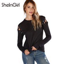SheInGirl Solid Black Women Sexy T-shirt Street Hollow Out Cold Shoulder Tops Casual Autumn O-neck Lace Up Basic Tees Female