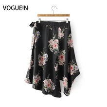Buy VOGUEIN New Womens Ladies Casual Floral Print Black Asymmetrical Zipper Mini Skirt Bow Size SML Wholesale for $11.82 in AliExpress store