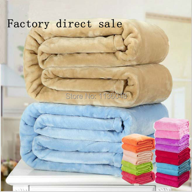 Free shipping size 200*230cm sofa/air/bedding Throw solid color and double faced travel flannel blanket Baby blanket bedding<br>