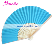 50Piece/Lot Wholesale Hand Fans Bamboo Wedding Favors White Blue Paper Wooden Fan For Party Decoration Personalized Wedding Fan