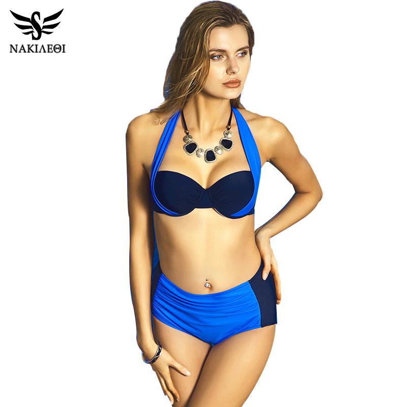 NAKIAEOI 19 New Sexy Bikinis Women Swimsuit High Waisted Bathing Suits Swim Halter Push Up Bikini Set Plus Size Swimwear 4XL 8