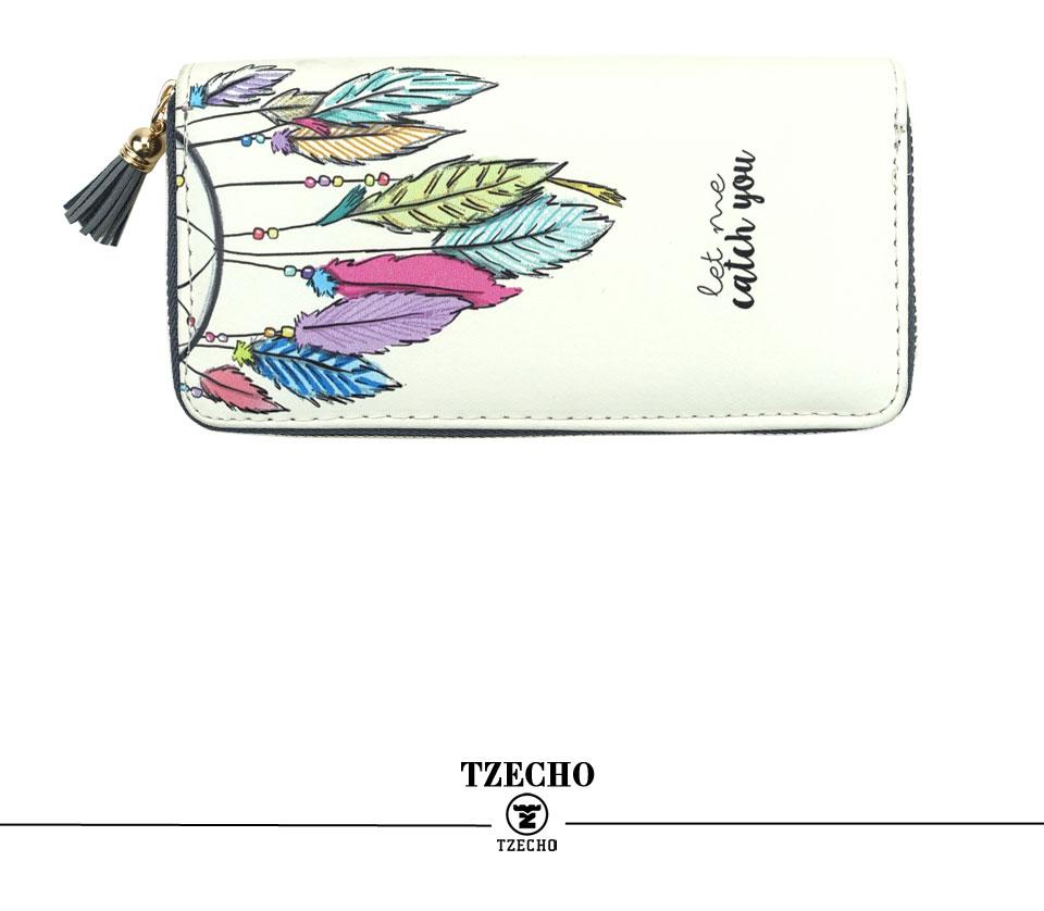 HTB1vzl7RFXXXXcvXVXXq6xXFXXXw - TZECHO Women Wallets PU Print Dream Catcher Carton Long Ladies Purses Coin Pocket Card Holder Clutch Zipper Wallets for Women