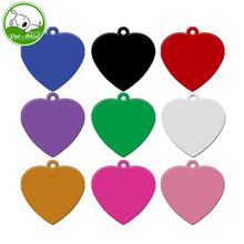 20pcs/lot Aluminum Personalized Engraving Pet ID Dog Tags Identification Custom Name Address Phone Number Heart Shape(China)