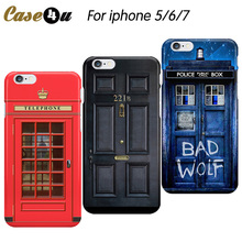 Classic Retro London Red Telephone Box Hard Case for coque iphone 7 8 Plus 6 6s 5s Phone Cover Sherlock 221B Black Door Shell