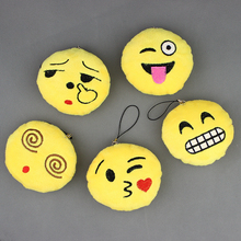 Hot Sale Cute Small Emoji Smiley Emoticon Amusing Key Chain Soft Toy Gift Pendant Bag 10pieces/lot
