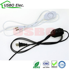 US white black 2c*0.75mm 1.8m 250V PVC Copper AC power Dimmer switch power cable LED Energy saving light bulbs power cord