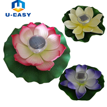 U-EASY LED Solar Light Floating Lotus LED Light Pool Pond Garden Night View Lamp for Pond Fountain Decoration Solar Powered