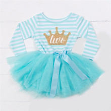 Princess Girl Infant Party Dress Baby Born Shower Gift Baby Girl First Birthday Outfits Tutu Children Girl Clothing 1 2 3 Years(China)