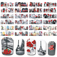 12 Designs in 1 set New Full Cover Wraps Nail Art Water Transfer Stickers Sexy Style Manicure Decals DIY Nail Tips BEBN373-384