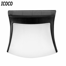 ICOCO 3 LED Outdoor Waterproof IP65 Solar Powered Fence Light Wall Lamp for Stair Post Garden Yard Landscape Drop Shipping