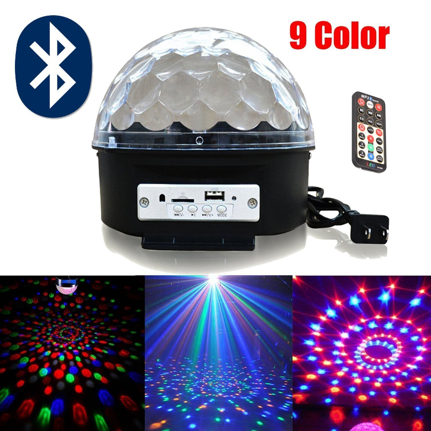 LumiParty Upgrade 9 Color Mp3 Bluetooth Music Led RGB with Music Crystal Magic Effect Ball Light DMX Disco Dj Stage Light<br>