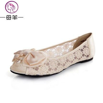MUYANG Chinese Brand Women Sandals 2017 Fashion Women Lace Gauze Bow Open Toe Shoes Woman Comfortable Flat Sandals Women Sandals<br><br>Aliexpress