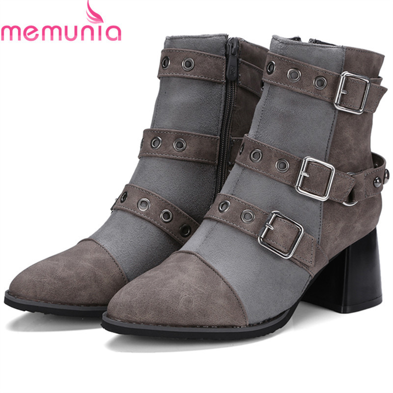 MEMUNIA Hot sale motorcycle boots in spring autumn high heels shoes woman ankle boots punk fashion boots female big size 34-45<br>