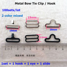 ( 2color option ) 100 Sets/lot  Adjustable Bow Tie hook Buckle Bow Tie Clip 19mm Hardware Necktie Hook Cravat Clips Fasteners