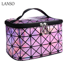 3D Laser Diamond Pattern Portable Cosmetic Bag Leather Zipper Makeup Case Large Capacity Storage Bag Maletas De Maquiagem